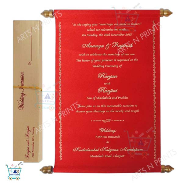 red wedding card scrolled with box