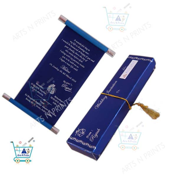 blue scroll wedding card with box
